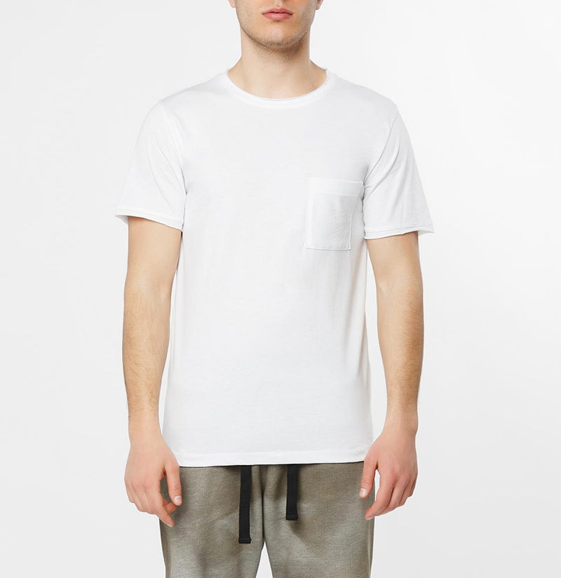 Slim Fit Pocket Crew Neck T-Shirt White - B