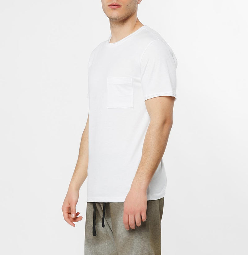Slim Fit Pocket Crew Neck T-Shirt White - C