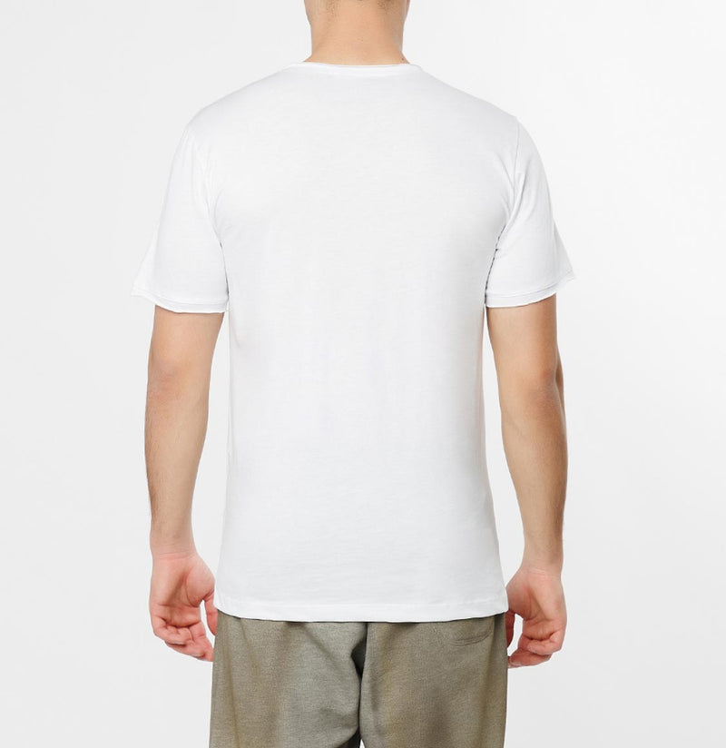 Slim Fit Pocket Crew Neck T-Shirt White - D