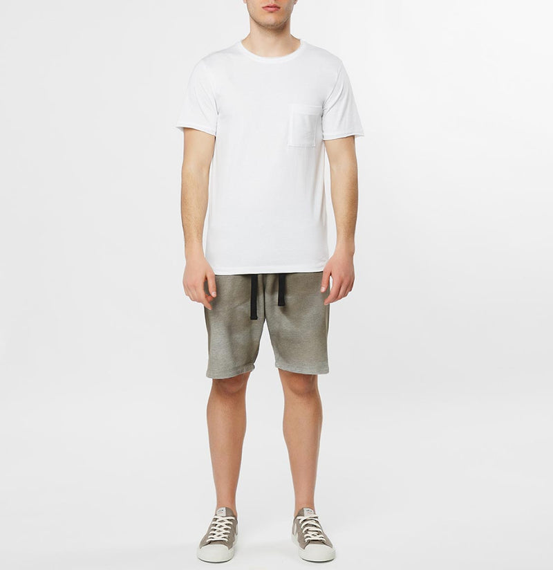 Slim Fit Pocket Crew Neck T-Shirt White - E