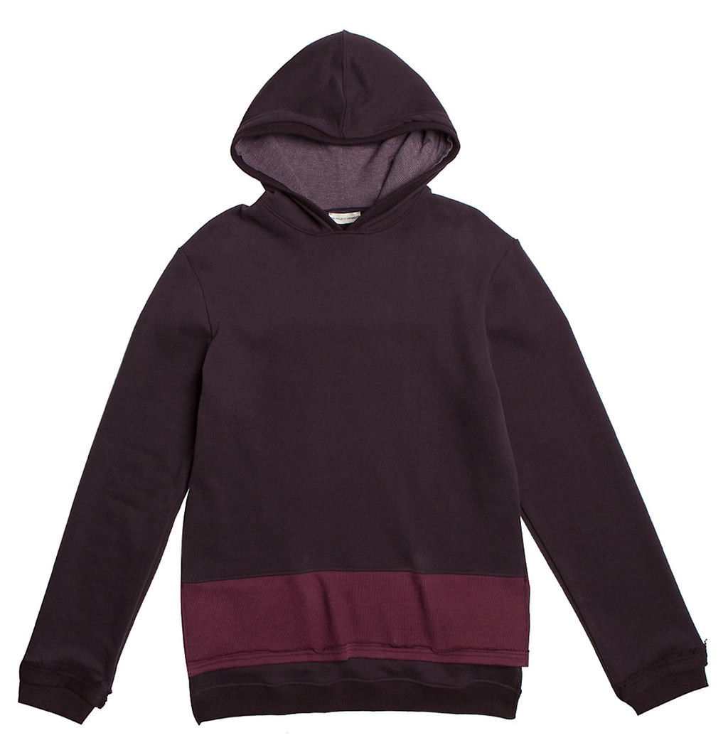 Two Tone Double Layer Design Loopback Cotton Blend Hoodie Burgundy