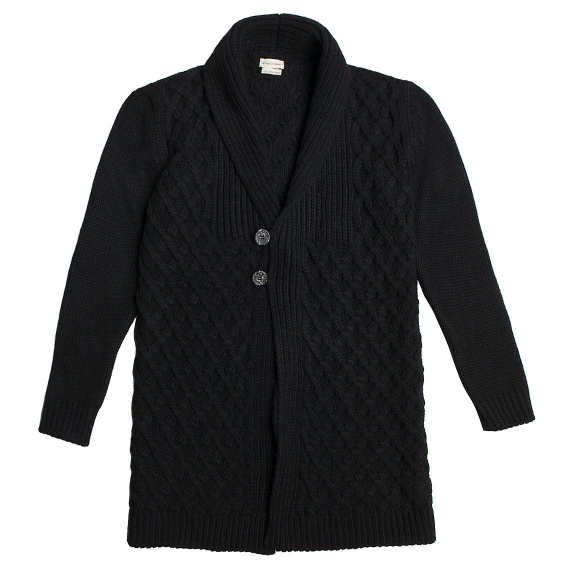 Men's Two Button Shawl Collar Wool Blend Cardigan Black | The Project Garments Product