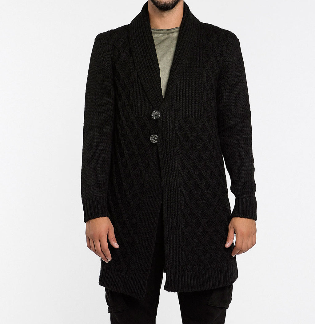 Men's Two Button Shawl Collar Wool Blend Cardigan Black | The Project Garments Front