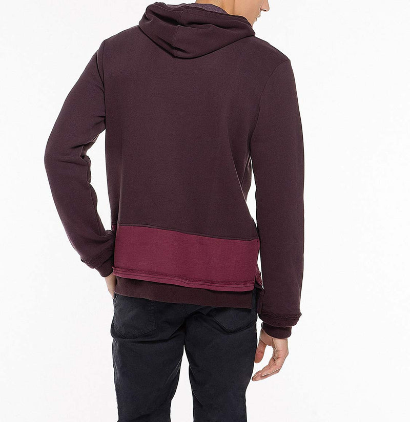 Two Tone Double Layer Design Loopback Cotton Blend Hoodie Burgundy Back