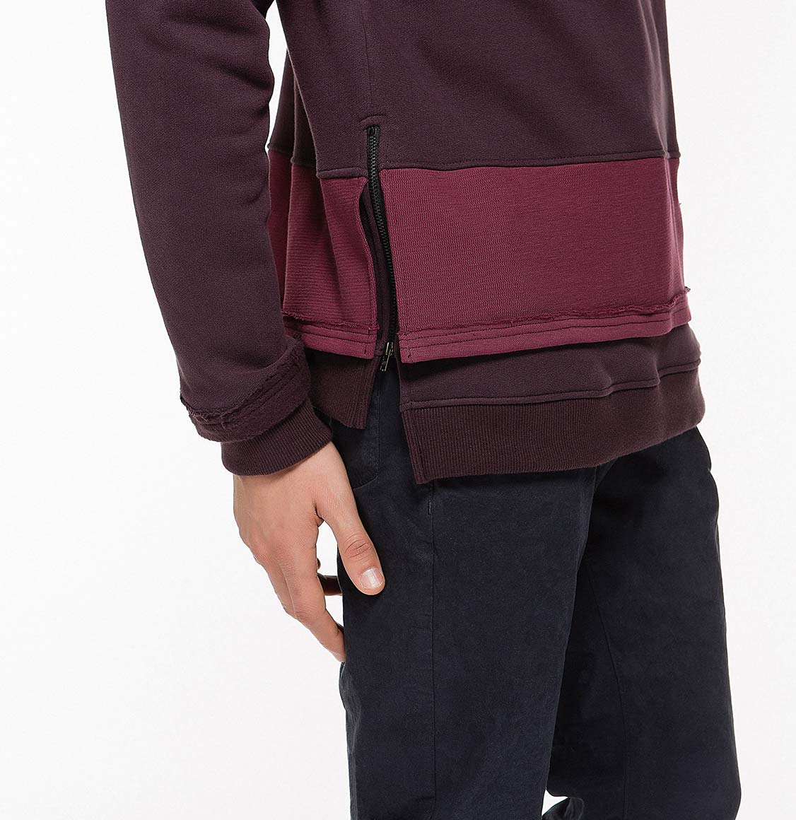 Two Tone Double Layer Design Loopback Cotton Blend Hoodie Burgundy Details