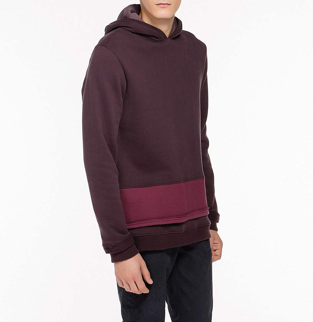 Two Tone Double Layer Design Loopback Cotton Blend Hoodie Burgundy Front