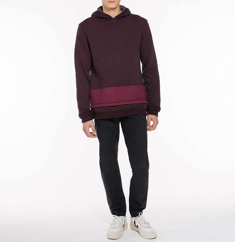 Two Tone Double Layer Design Loopback Cotton Blend Hoodie Burgundy Model