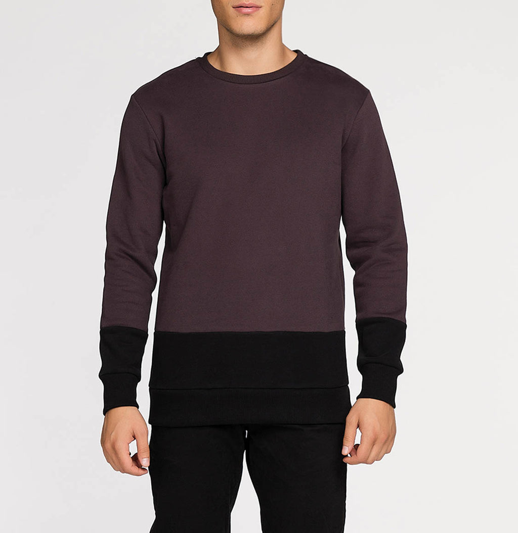 Vertical Color Block Crew Neck Sweatshirt Burgundy | The Project Garments - A