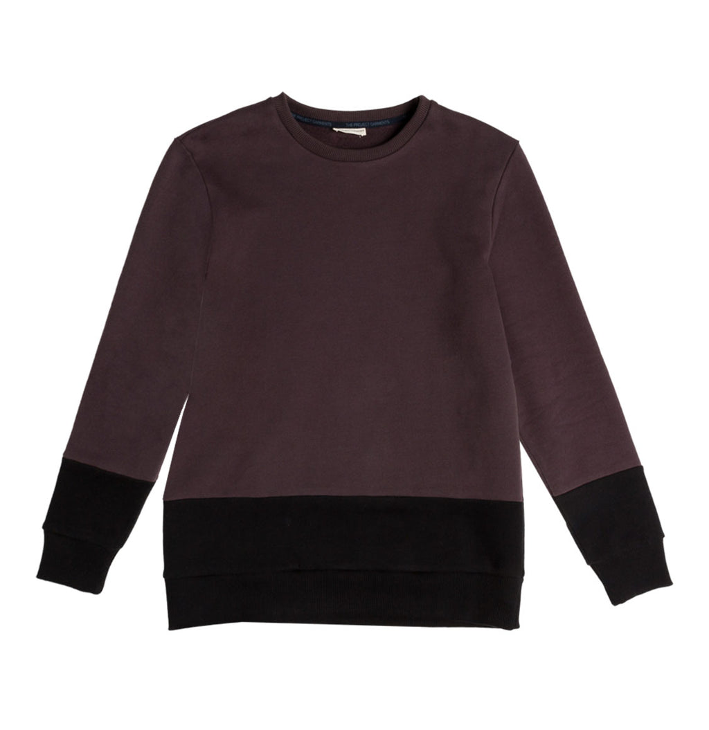 Vertical Color Block Crew Neck Sweatshirt Burgundy | The Project Garments
