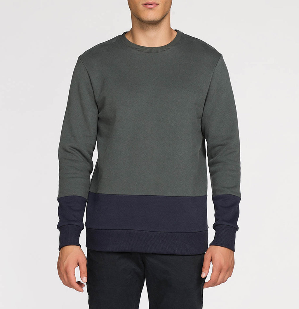 Vertical Color Block Crew Neck Sweatshirt Khaki | The Project Garments - A