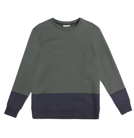 Vertical Color Block Crew Neck Sweatshirt Navy Blue