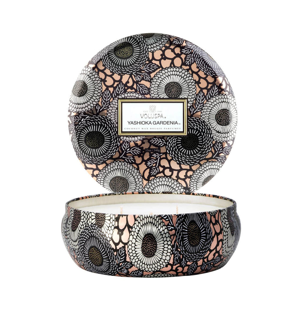 Voluspa Yashioka Gardenia 3 Wick Candle in Decorative Tin