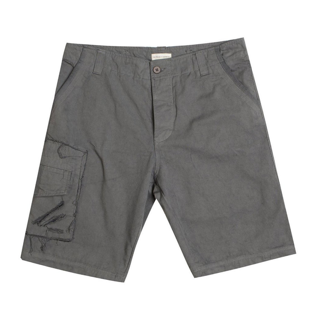 Washed Cotton Cargo Distressed Shorts Asphalt Grey A