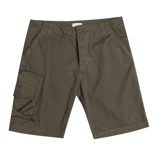 Washed Cotton Cargo Distressed Shorts Khaki The Project Garments A