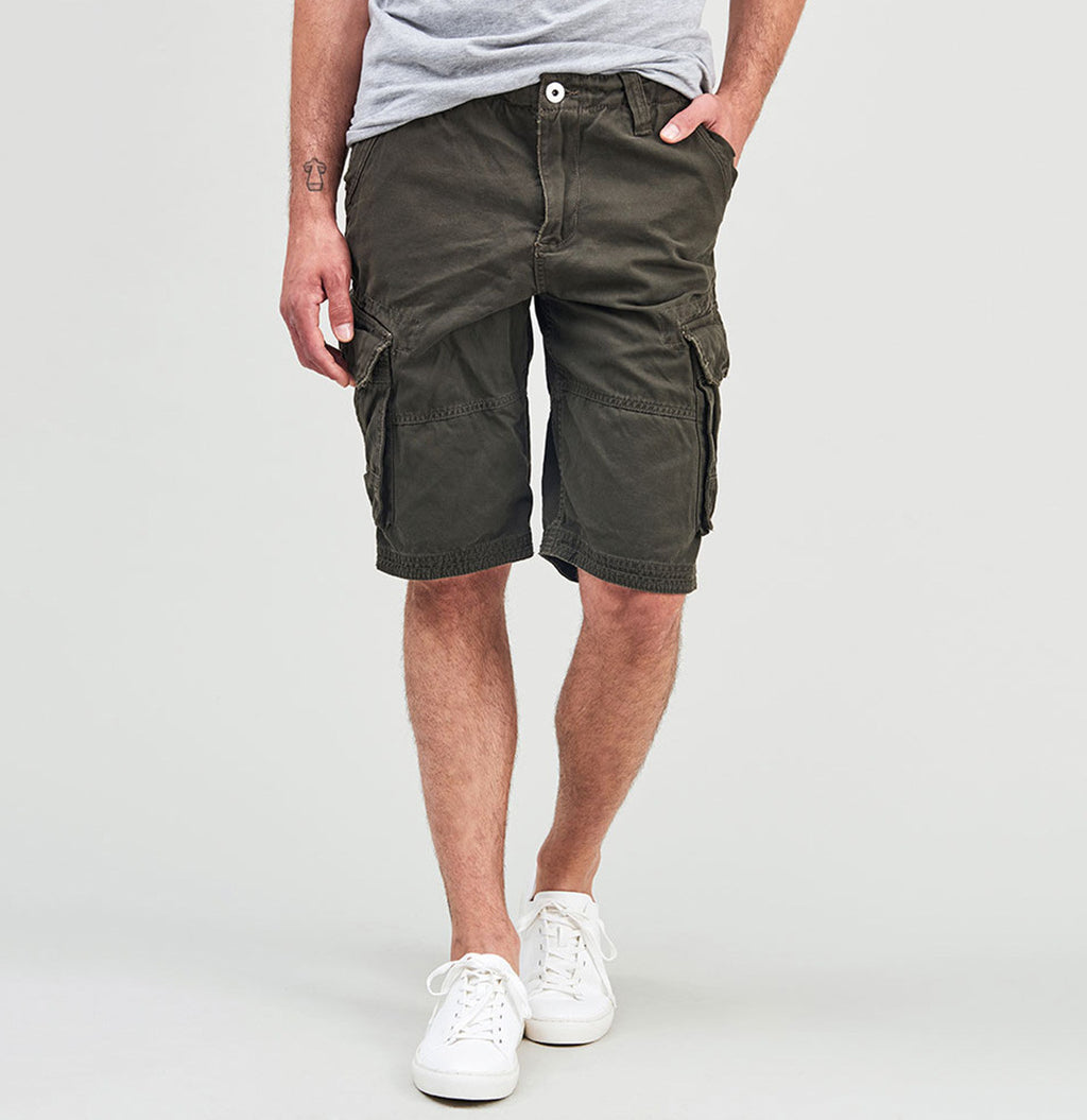 Cotton Cargo Distressed Shorts Khaki | The Project Garments - B