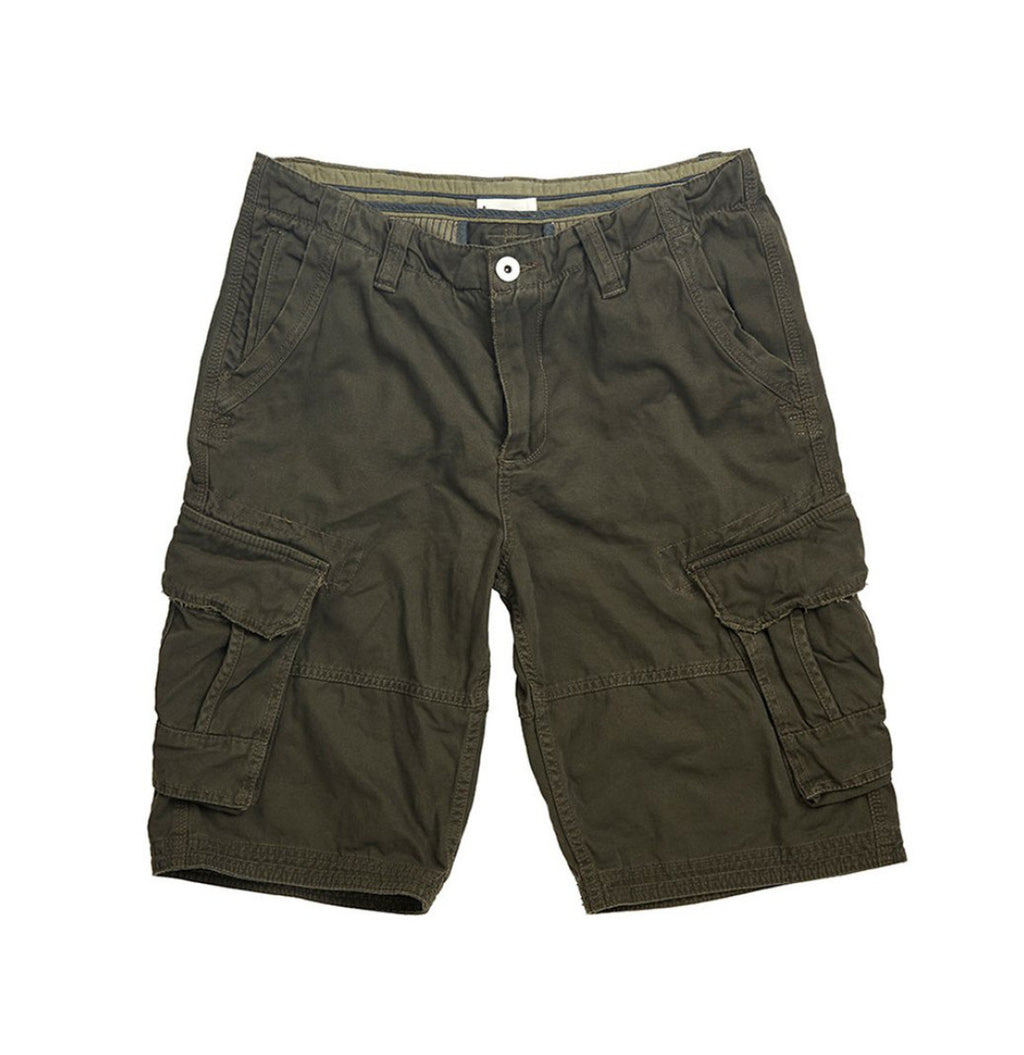 The Project Garments Cotton Cargo Distressed Shorts Khaki