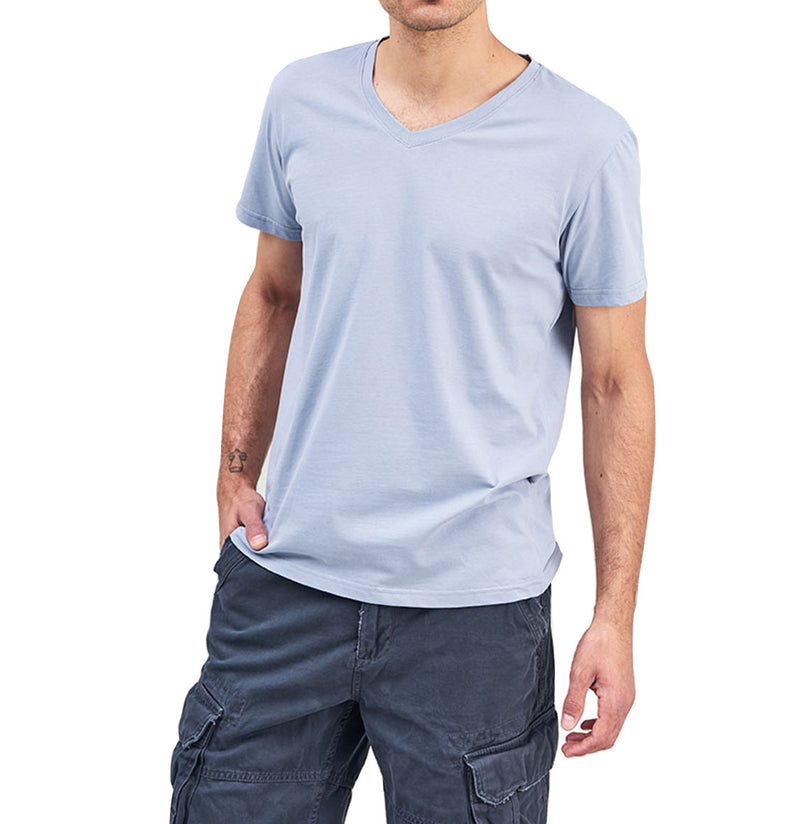 Organic Cotton V-neck T-shirt Light Blue | The Project Garments - C