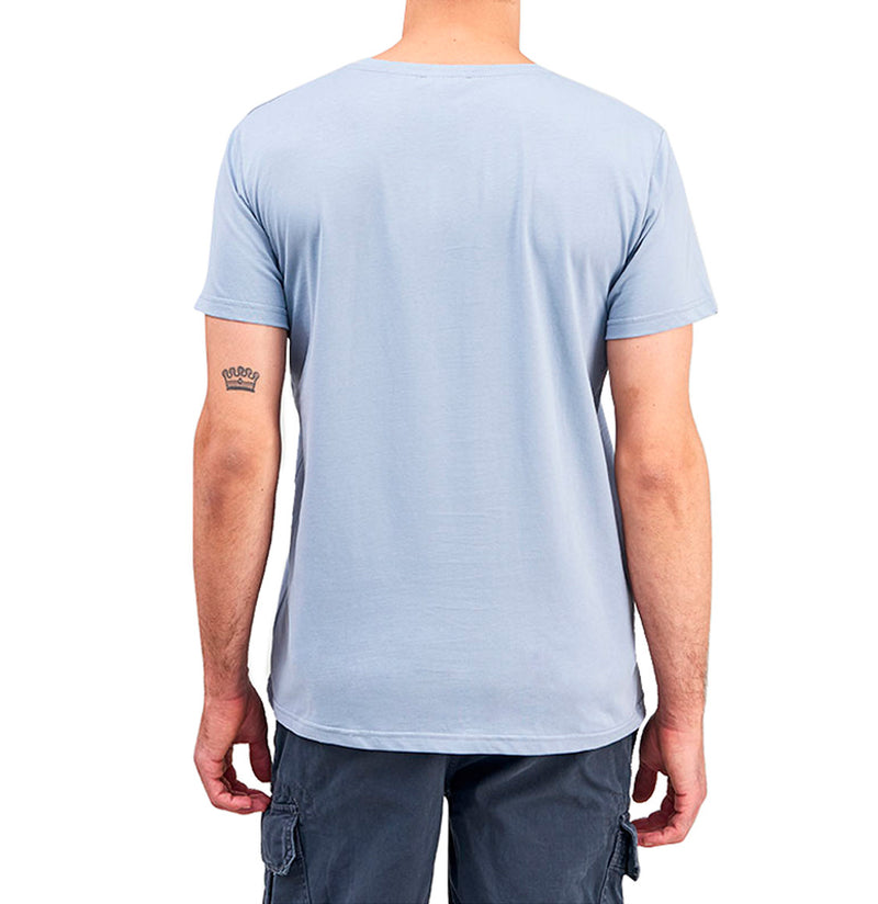 Organic Cotton V-neck T-shirt Light Blue | The Project Garments - D