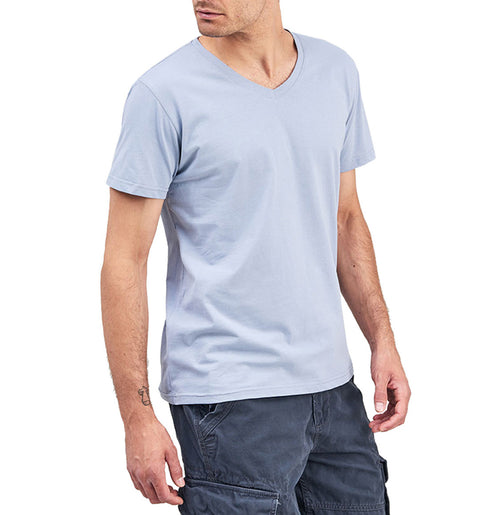 Organic Cotton V-neck T-shirt Light Blue | The Project Garments - B
