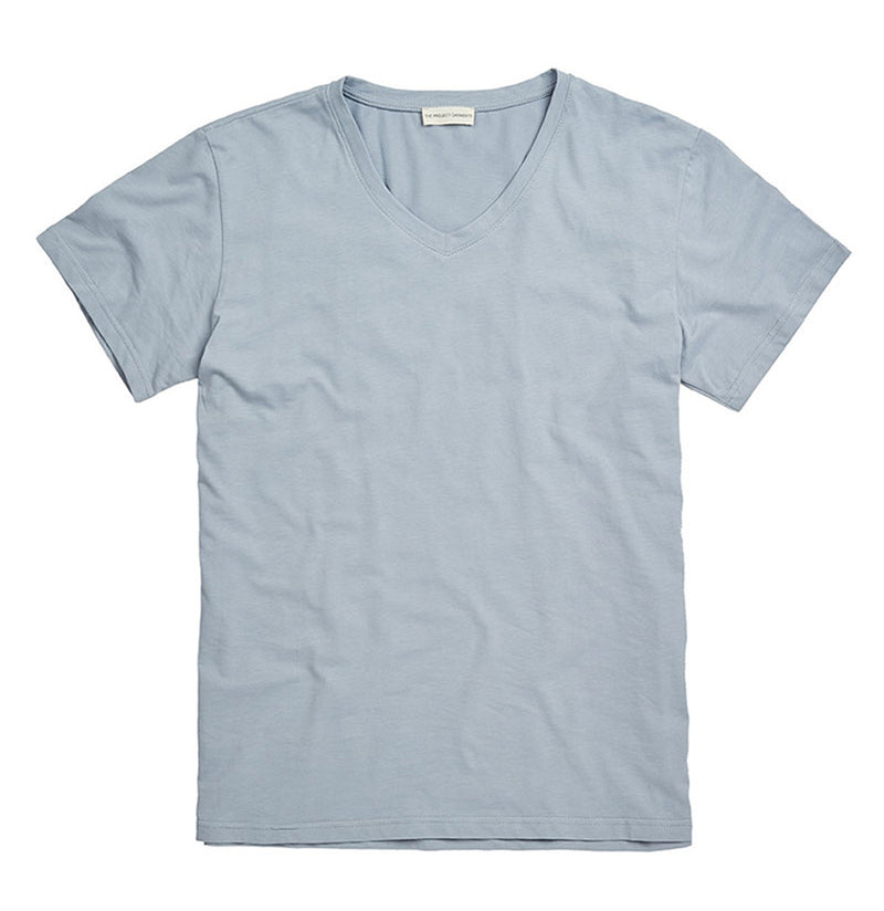 Organic Cotton V-neck T-shirt Light Blue | The Project Garments - A