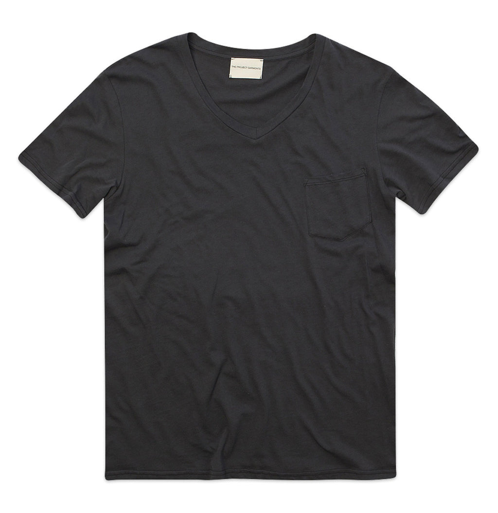 Modal Blend V-neck Tee Charcoal Grey Plain T-shirts Product The Project Garments