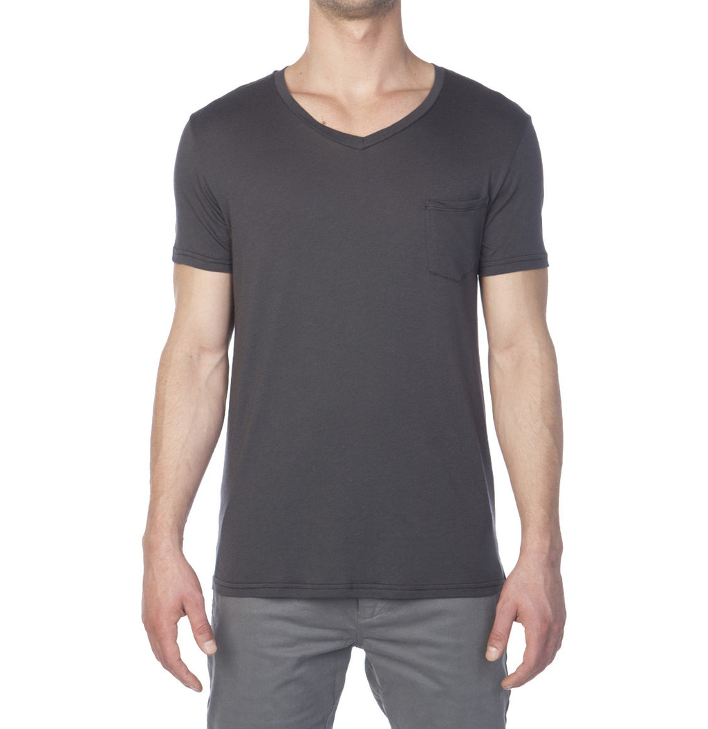 Modal Blend V-neck Tee Charcoal Grey Plain T-shirts Front The Project Garments