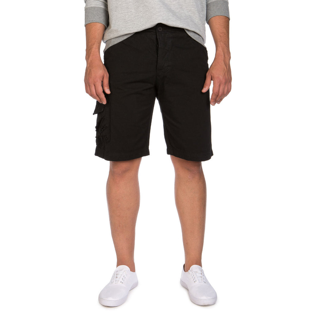 Washed Cotton Cargo Distressed Shorts Black a The Project Garments