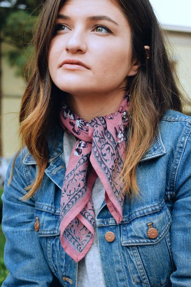 Cotton Square Pink Hand Block Printed Bandana Neck Scarf