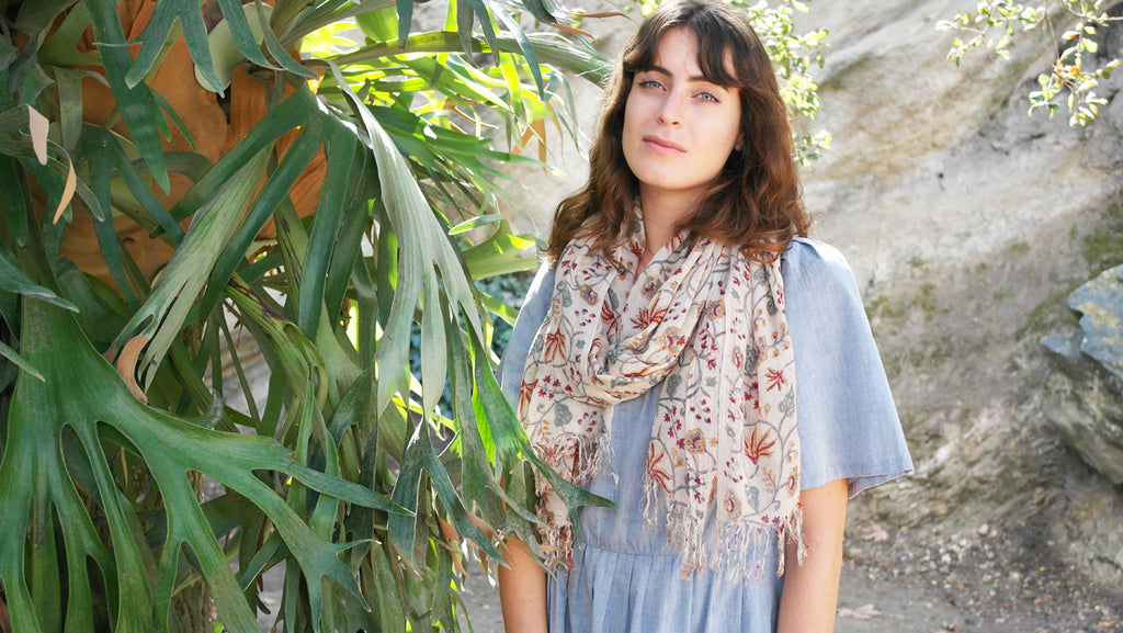 Knighbury Harvest Wool Scarf - Handmade, hand block printed with AZO-free, non-toxic dyes - Holiday Gift Guide