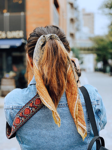 How to dress boho in the winter - from mila hand block printed olive green cotton bandana scarf