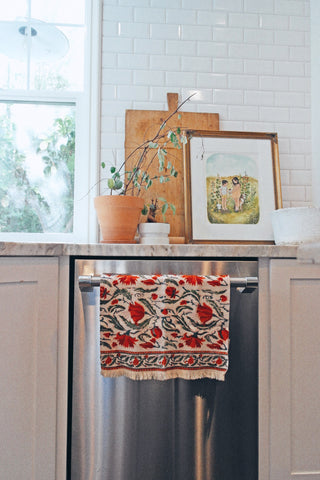 From Mila Floral Print Hand Block Printed Cotton Exfoliating Waffle Texture Kitchen Hand Towel
