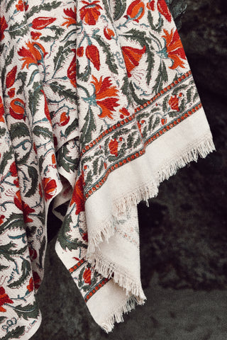 Floral Cotton Printed Fringe Towel