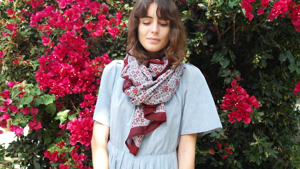 Knighbury Madrid Cotton Scarf - Handmade, hand block printed with AZO-free, non-toxic dyes - Holiday Gift Guide