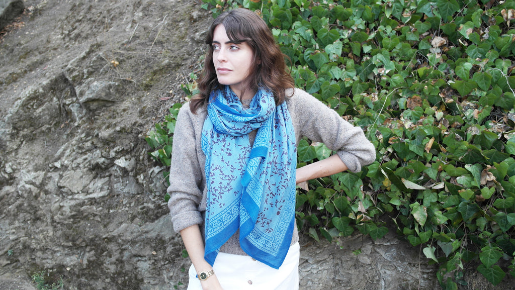 Knighbury Maroon Twigs Cotton Scarf - Handmade, hand block printed with AZO-free, non-toxic dyes - Holiday Gift Guide
