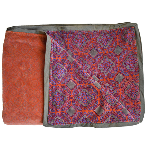 From Mila Hand Block Printed Velvet Throw Blanket - Housewarming Christmas Gift for Siblings Brothers Sisters Friends