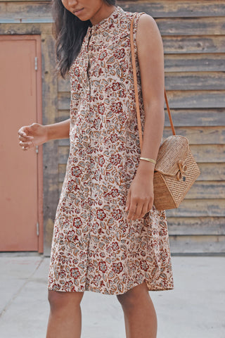Foral Sleeveless Shirt Dress