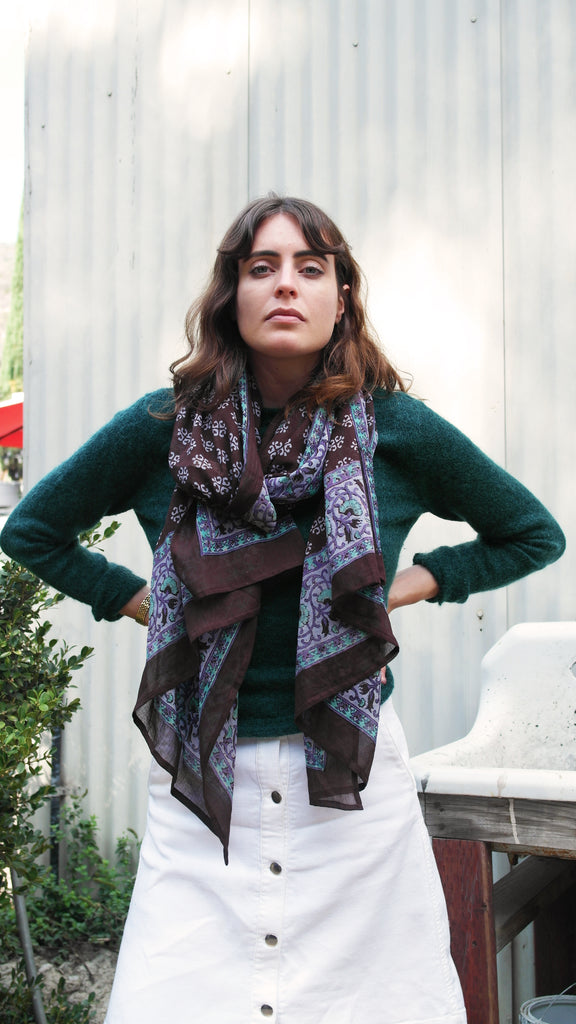 Knighbury Nightingale Wool Scarf - Handmade, hand block printed with AZO-free, non-toxic dyes - Holiday Gift Guide