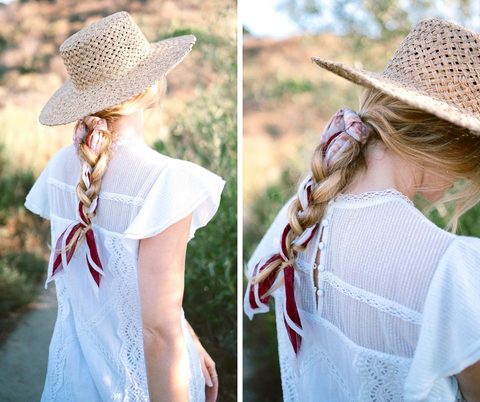 Delphi bandana tied into a braid