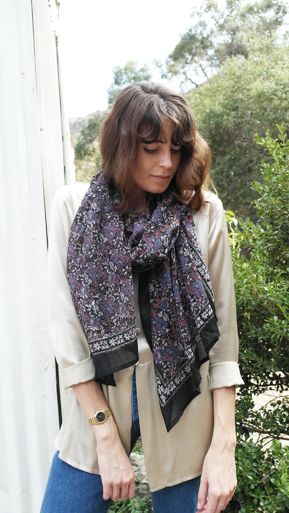 Knighbury Wild Haven Cotton Scarf - Handmade, hand block printed with AZO-free, non-toxic dyes - Holiday Gift Guide