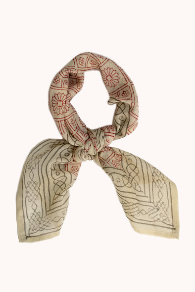 Elba Block Print Cotton Bandana