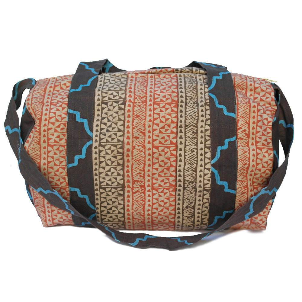 Fes Duffle Bag, Bohemian duffle bag - hand block printed onto cotton canvas with AZO-free, non-toxic dyes,