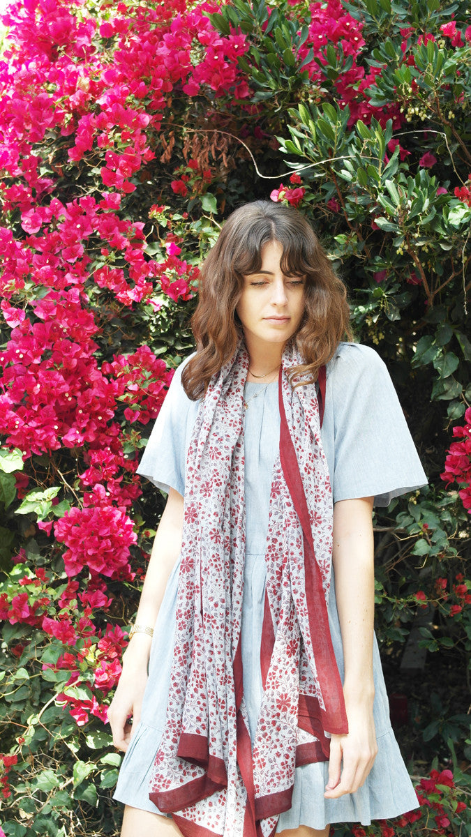 Knighbury Madrid Cotton Hand Block Printed Scarf Inspired by Artisans in India and Bohemian Style Around the World