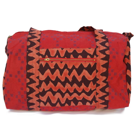Knighbury Marrakesh Cotton Hand Block Printed Duffle Bag Inspired by Artisans in India and Bohemian Style Around the World