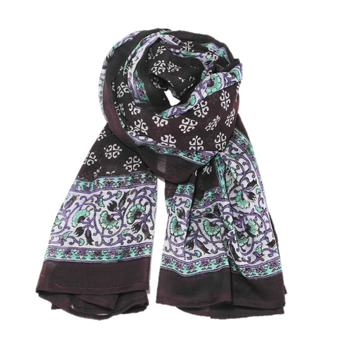 Knighbury Mountain Valley Cotton Hand Block Printed Scarf Inspired by Artisans in India and Bohemian Style Around the World