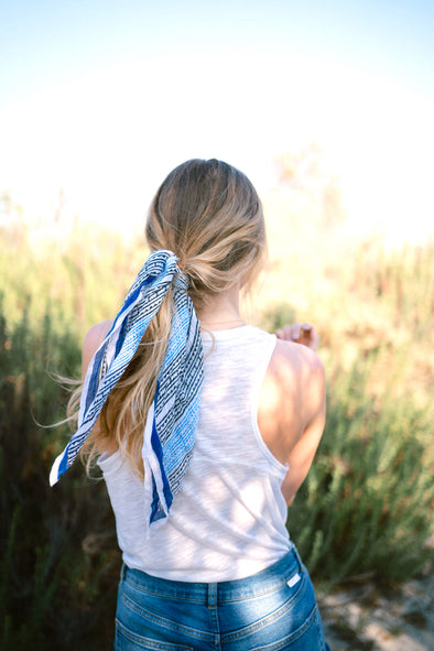 Aegean Bandana tied in the hair
