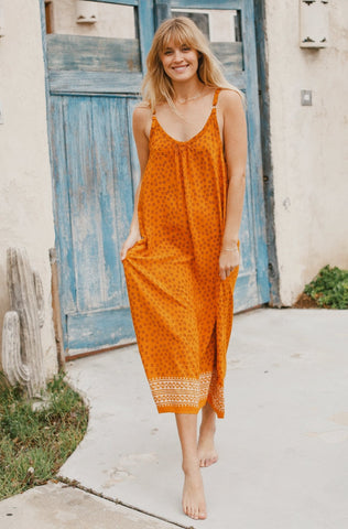 Orange strap star print maxi dress