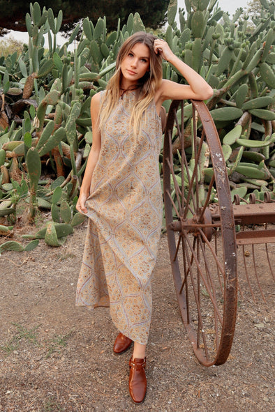 Block print Sophia sleeveless maxi dress