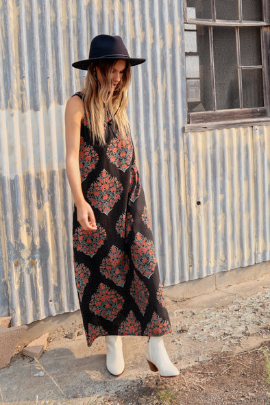 Block print Ana sleeveless maxi dress