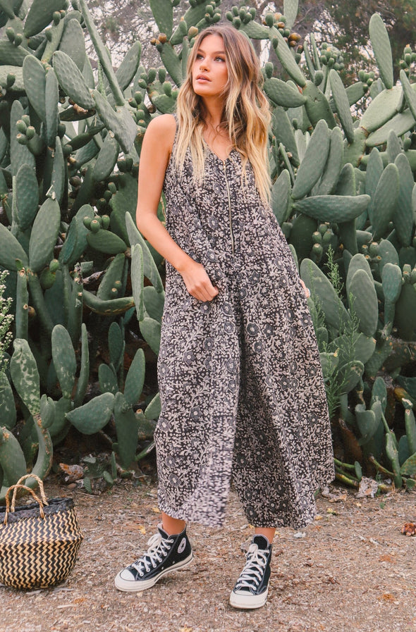 Robyn Black and White Sleeveless Jumpsuit
