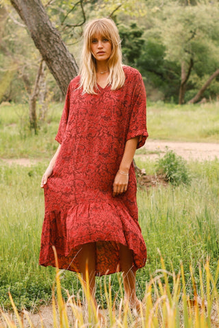 Red floral print maxi ruffle dress with mid sleeves